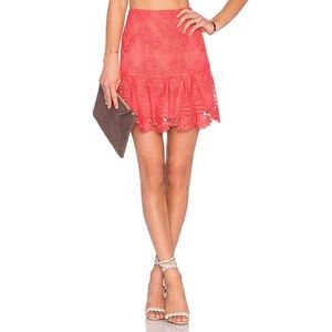 Lovers + Friends Blair Skirt Coral Reef Lace Mini